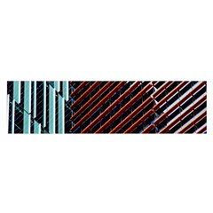 Red And Black High Rise Building Satin Scarf (oblong)