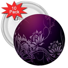 Purple Lotus 3  Buttons (10 pack)