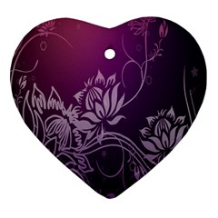 Purple Lotus Heart Ornament (Two Sides)