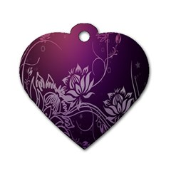 Purple Lotus Dog Tag Heart (Two Sides)