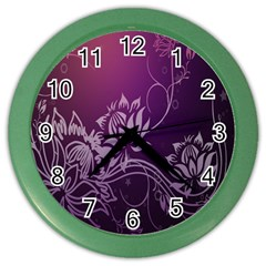 Purple Lotus Color Wall Clocks
