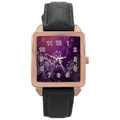 Purple Lotus Rose Gold Leather Watch
