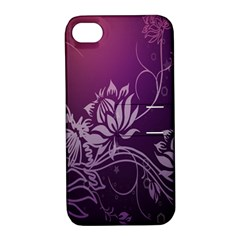 Purple Lotus Apple Iphone 4/4s Hardshell Case With Stand