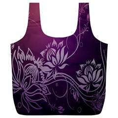 Purple Lotus Full Print Recycle Bags (l)