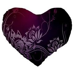 Purple Lotus Large 19  Premium Flano Heart Shape Cushions