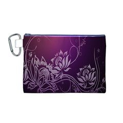 Purple Lotus Canvas Cosmetic Bag (m)