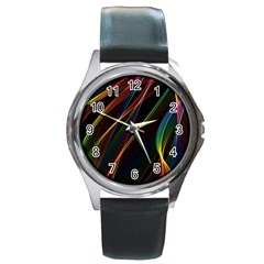 Rainbow Ribbons Round Metal Watch