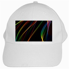 Rainbow Ribbons White Cap