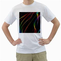Rainbow Ribbons Men s T-Shirt (White) (Two Sided)