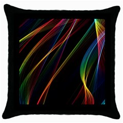 Rainbow Ribbons Throw Pillow Case (Black)