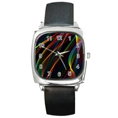 Rainbow Ribbons Square Metal Watch