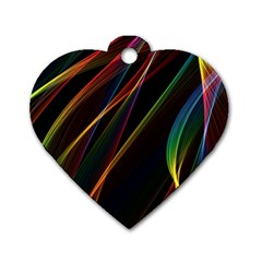 Rainbow Ribbons Dog Tag Heart (One Side)