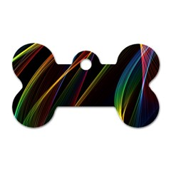 Rainbow Ribbons Dog Tag Bone (One Side)