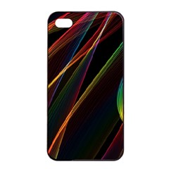 Rainbow Ribbons Apple Iphone 4/4s Seamless Case (black)