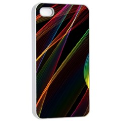Rainbow Ribbons Apple Iphone 4/4s Seamless Case (white)