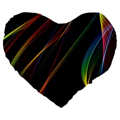 Rainbow Ribbons Large 19  Premium Heart Shape Cushions