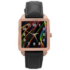 Rainbow Ribbons Rose Gold Leather Watch