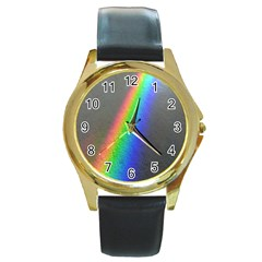 Rainbow Color Spectrum Solar Mirror Round Gold Metal Watch