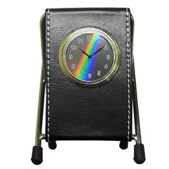 Rainbow Color Spectrum Solar Mirror Pen Holder Desk Clocks
