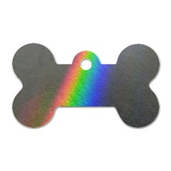 Rainbow Color Spectrum Solar Mirror Dog Tag Bone (One Side)