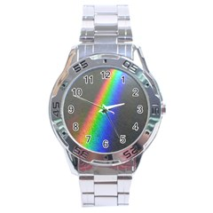 Rainbow Color Spectrum Solar Mirror Stainless Steel Analogue Watch
