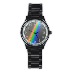 Rainbow Color Spectrum Solar Mirror Stainless Steel Round Watch