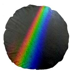 Rainbow Color Spectrum Solar Mirror Large 18  Premium Flano Round Cushions