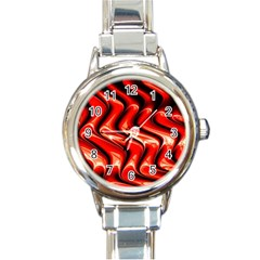 Red Fractal  Mathematics Abstact Round Italian Charm Watch