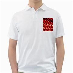 Red Fractal  Mathematics Abstact Golf Shirts