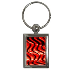 Red Fractal  Mathematics Abstact Key Chains (rectangle)