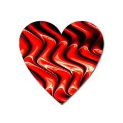 Red Fractal  Mathematics Abstact Heart Magnet