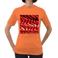 Red Fractal  Mathematics Abstact Women s Dark T Shirt