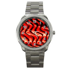 Red Fractal  Mathematics Abstact Sport Metal Watch