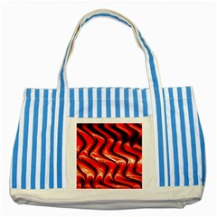 Red Fractal  Mathematics Abstact Striped Blue Tote Bag