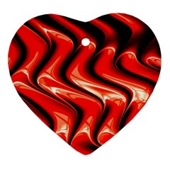 Red Fractal  Mathematics Abstact Heart Ornament (two Sides)