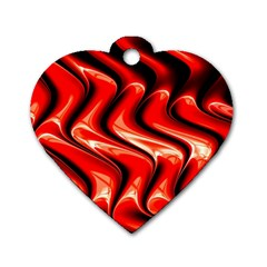 Red Fractal  Mathematics Abstact Dog Tag Heart (Two Sides)