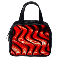 Red Fractal  Mathematics Abstact Classic Handbags (One Side)
