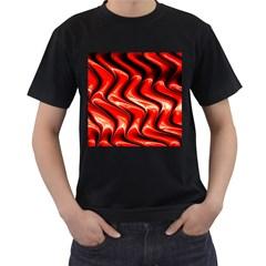 Red Fractal  Mathematics Abstact Men s T Shirt (black)