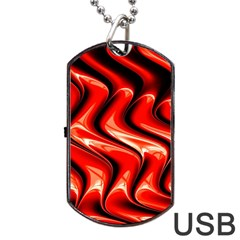 Red Fractal  Mathematics Abstact Dog Tag USB Flash (One Side)