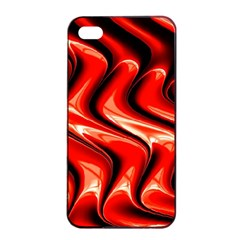 Red Fractal  Mathematics Abstact Apple iPhone 4/4s Seamless Case (Black)