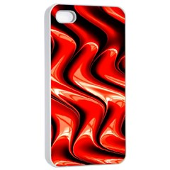 Red Fractal  Mathematics Abstact Apple iPhone 4/4s Seamless Case (White)