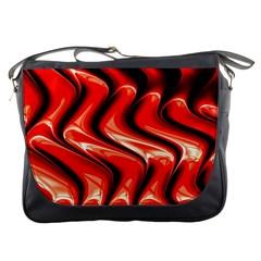 Red Fractal  Mathematics Abstact Messenger Bags