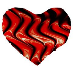Red Fractal  Mathematics Abstact Large 19  Premium Heart Shape Cushions