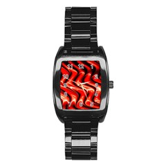 Red Fractal  Mathematics Abstact Stainless Steel Barrel Watch