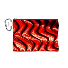 Red Fractal  Mathematics Abstact Canvas Cosmetic Bag (M)