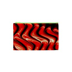 Red Fractal  Mathematics Abstact Cosmetic Bag (XS)