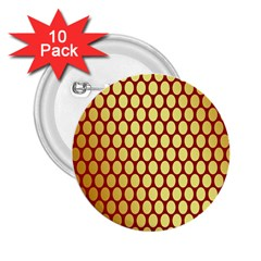 Red And Gold Effect Backing Paper 2.25  Buttons (10 pack)