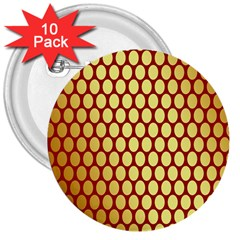 Red And Gold Effect Backing Paper 3  Buttons (10 pack)
