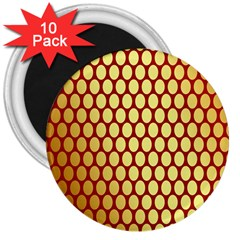 Red And Gold Effect Backing Paper 3  Magnets (10 Pack)