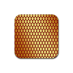 Red And Gold Effect Backing Paper Rubber Square Coaster (4 Pack)